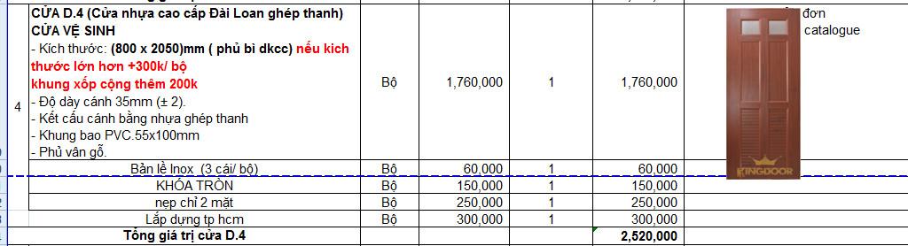 Bảng giá cửa nhựa đài loan ghép